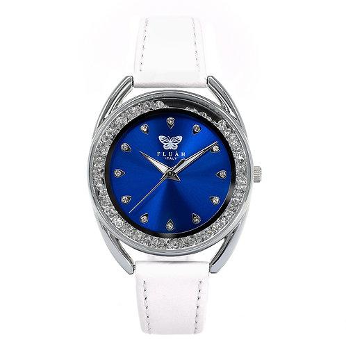 Orologio donna alla moda con quadrante blu, brillantini e cinturino in vera pelle made in italy di colore bianco