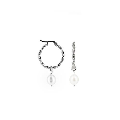 Orecchini moda donna in acciaio anallergico silver a cerchio con perla d'acqua dolce ovale