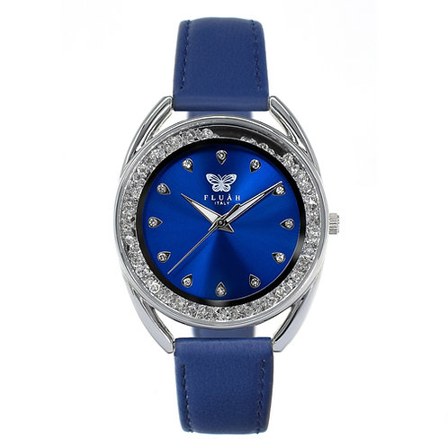 Orologio donna alla moda con quadrante blu, brillantini e cinturino in vera pelle made in italy di colore blu