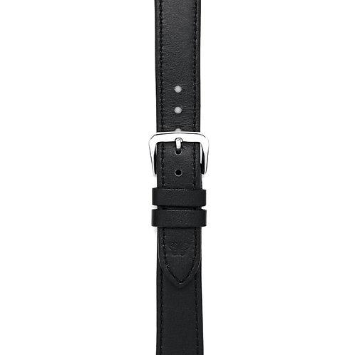 CINTURINO NERO SILVER 16mm