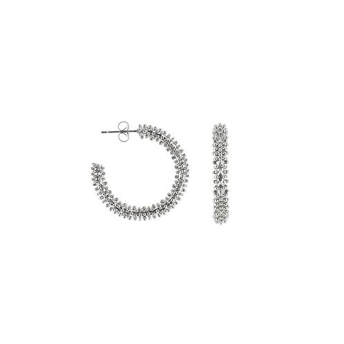 Orecchini moda donna in acciaio silver maxi hoops a cerchio grandi