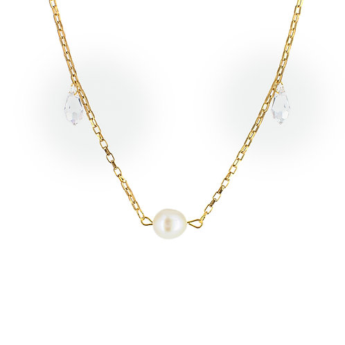 Collana moda donna in acciaio anallergico gold con perla d'acqua dolce e cristalli swarovski
