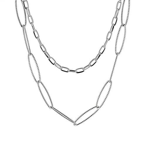 Collana moda donna in acciaio anallergico silver con doppia catena