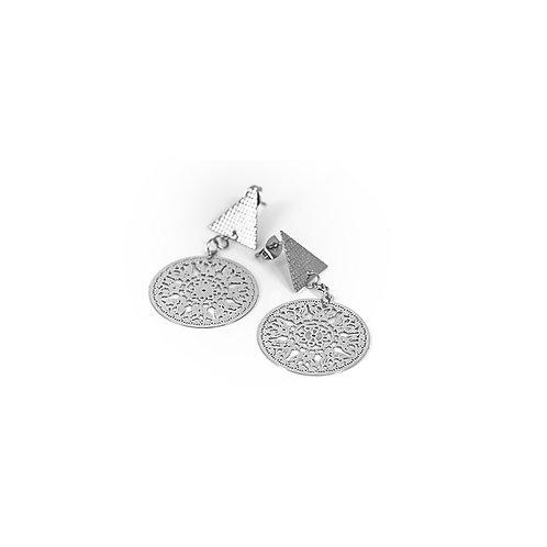 Orecchini moda donna in acciaio silver stile bohèmien con ciondolo geometrico