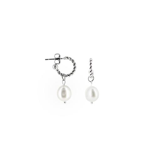 Orecchini moda donna in acciaio anallergico silver a mini cerchio con perla d'acqua dolce