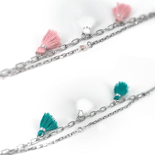 Braccialetti moda in acciaio anallergico silver con  nappine colorate in stile ibiza