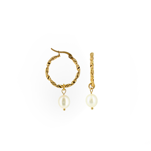 Orecchini moda donna in acciaio anallergico gold cerchio con perla d'acqua dolce ovale