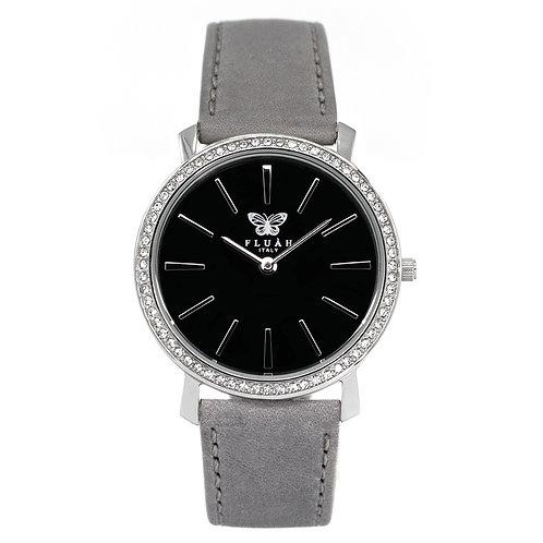Orologio donna silver alla moda con quadrante nero, brillantini e cinturino in vera pelle made in italy di colore grigio