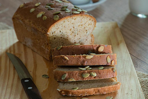 Pão de Grão de Bico e Semente de Abóbora