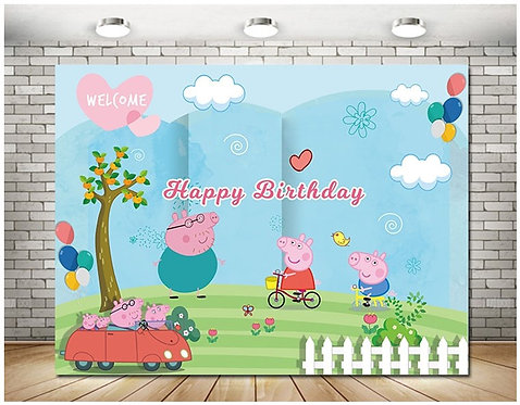 Peppa Pig Photography Background Eco Polyester Backdrops 2m x 1.5m