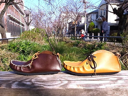 石丸靴工房の体験教室モカシンブーツ