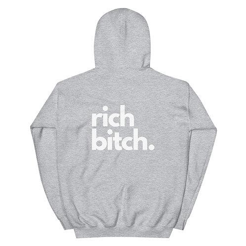 Unisex Hoodie rich bitchlogo white