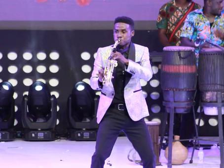 Mizter Okyere works saxophone 'magic' at 2018 Easter Comedy Show