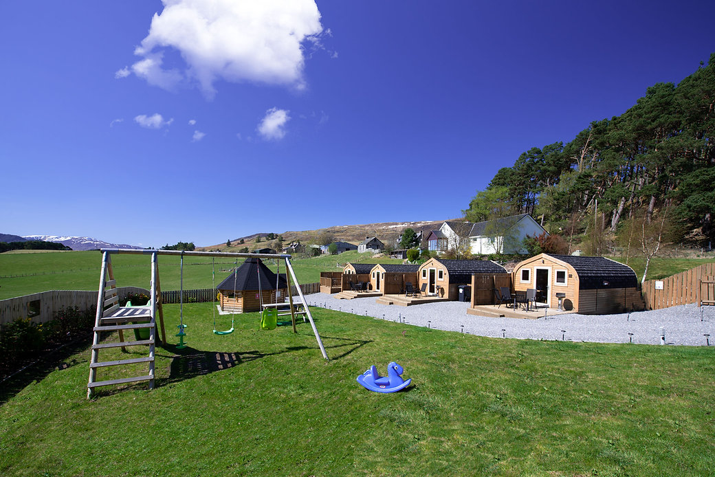 Pods front and playpark | Luxury Glamping Pods | Laggan Scotland | Laggan Glamping