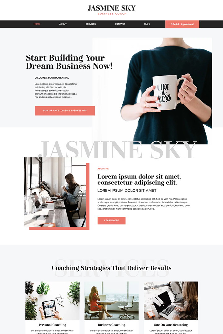 female business coach, coaching, female entrepreneur, Wix, Wix template, Wix Pro Theme