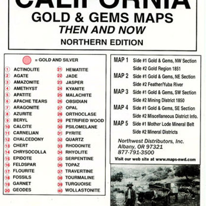 Then and Now Gem and Gold Maps, OR, CA, WA