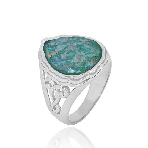 NRB8804-RG - Drop Shape Roman glass Statement Ring