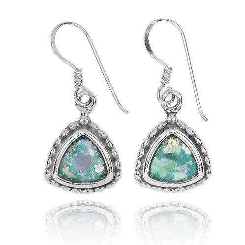 NEA3754-RG -Classic Triangle shape Roman Glass Earrings
