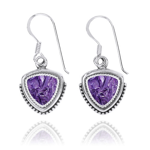 NEA3772-CHR - Classic Pointy Triangle Earring with Charoite Stones