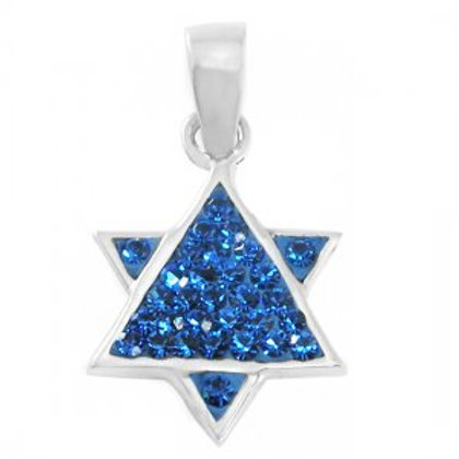NP8271 - Star of David Pendant with Blue CZ