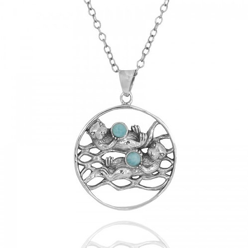 [NP12810-LAR] Two Otters Holding Round Larimar Oxidized Silver Pendant