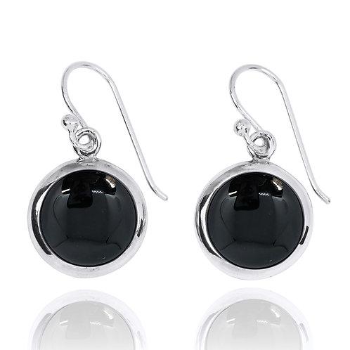 NEA3713-BKON- Classic Round Earrings with Black Onyx