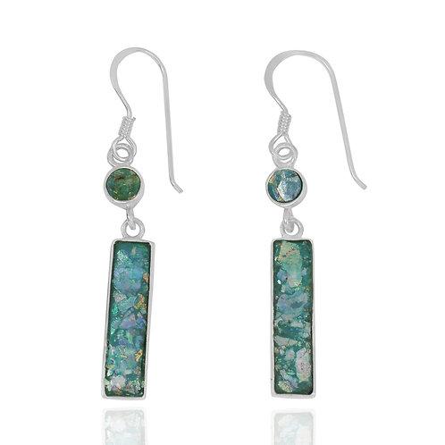 NEA3721-RG - Classic Roman Glass Dangling Earrings - Stick Design
