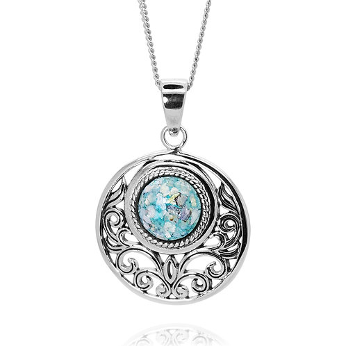 NP12047-RG - Sterling Silver Roman Glass Pendant - Gemstone Jewelry