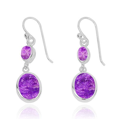 NEA3718-SUG - Elegant Dangling 2 Par Earrings with Sugilite Stones