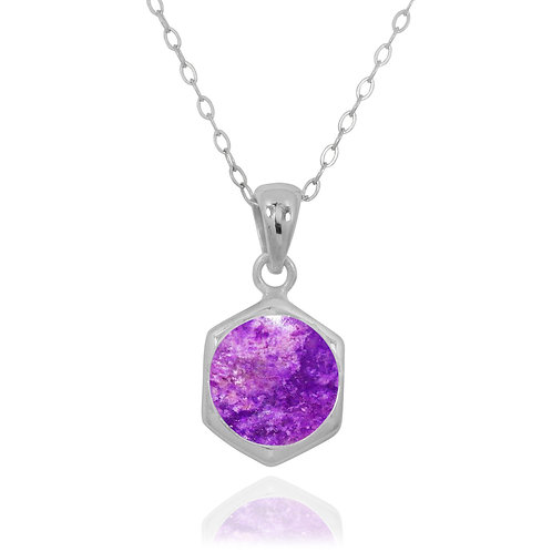 NP12232-SUG - Classic Silver Pendant with a Round Sugilite Piece