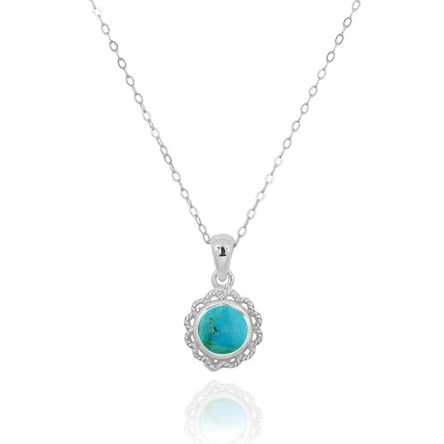 NP12340-GRTQ - Classic Round Flowery  Silver Pendant with a Turquoise Piece