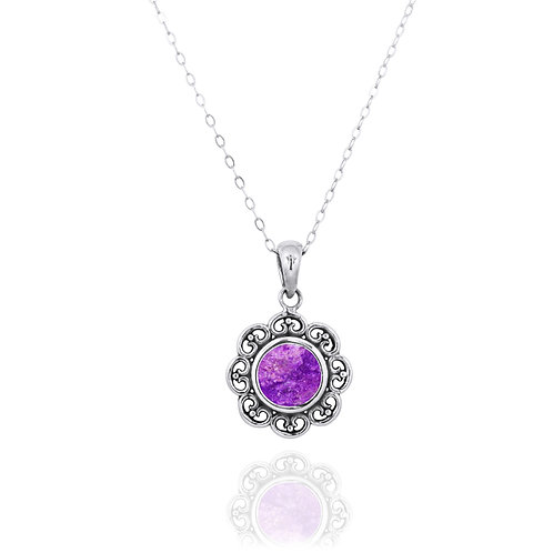 NP12223-SUG - Elegant Flower Silver Pendant with a Round Sugilite Piece