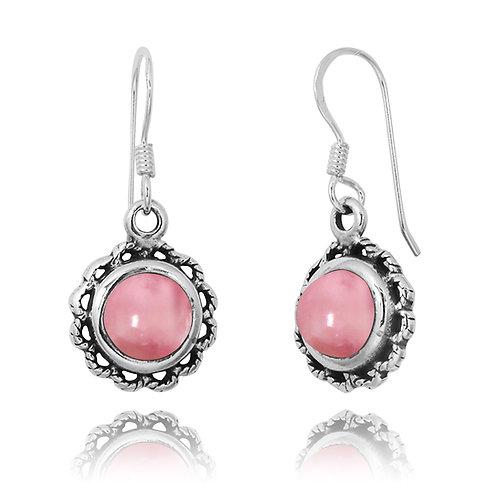 NEA3749-PPKOP- Flowery Earrings with Peru Pink Opal Stones