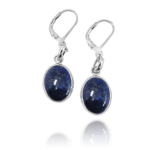 NEA3054-LAP- Elegant Elliptic Lapis Lazuli Earrings with