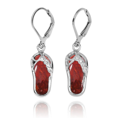 NEA3255-SPC - Classic Flip Flop Earrings with Red Sponge Coral