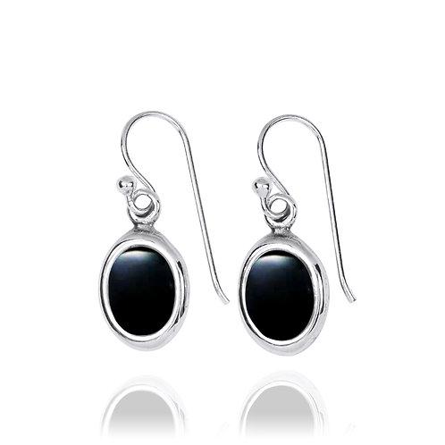 NEA3746-BKON- Oval Elegant Earrings with Black Onyx
