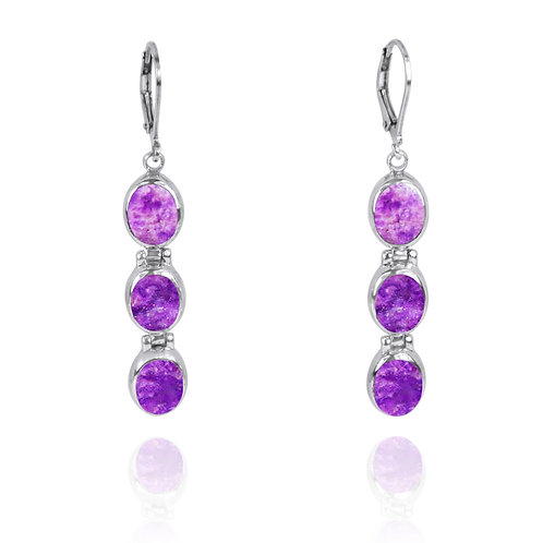 NEA3059-SUG - Elegant Trio Sugilite Earrings
