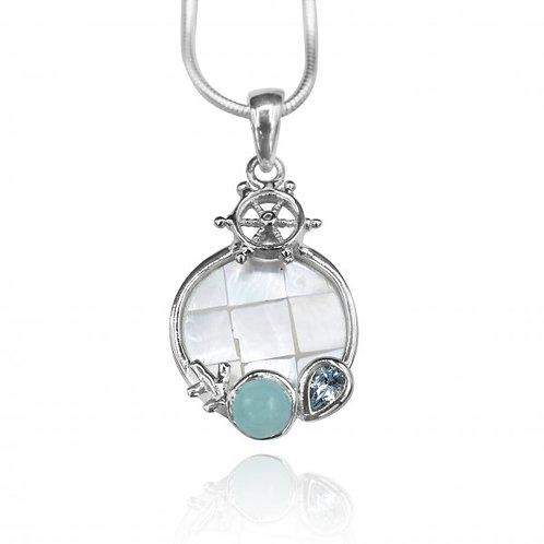 [KPG32-LAR] Round shape larimar , blue topaz , mother of pearl sea nautical pend