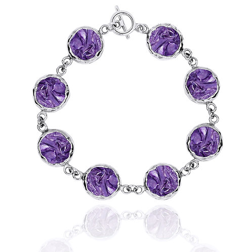 [NB1174-CHR] Sterling Silver Chain Bracelet with 8 Round Charoite