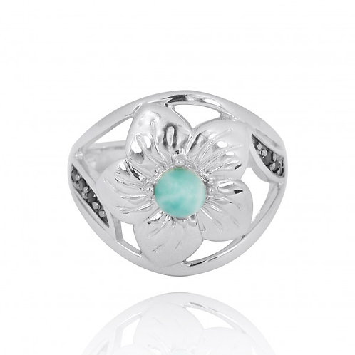 [NRB8364-LAR-BKSP] Sterling Silver Hibiscus Ring with Round Larimar and Black Sp
