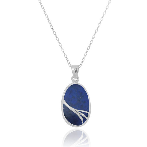 NP7090-LAP - Oval Silver Pendant withLapis Lazuli