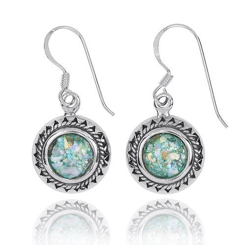 NEA3767-RG - Ethnic Style round Roman Glass Earrings