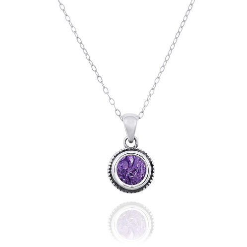 NP12206-CHR -  Elegant Round Silver Pendant with a Round Charoite Piece