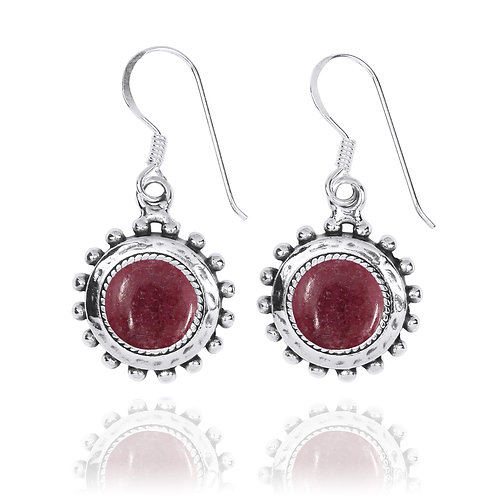 NEA3756-RDN - Round Spiked Earrings with Rhodonite