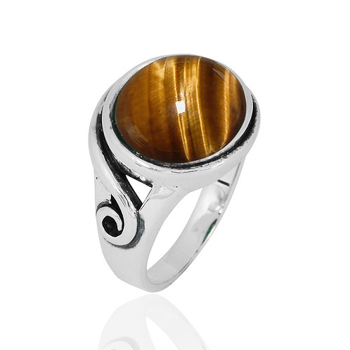NRB8802-BRTE -  Round Shape Tiger Eye Elegant Contemporary Ring