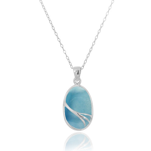 NP7090-LAR - Oval Silver Pendant with Larimar