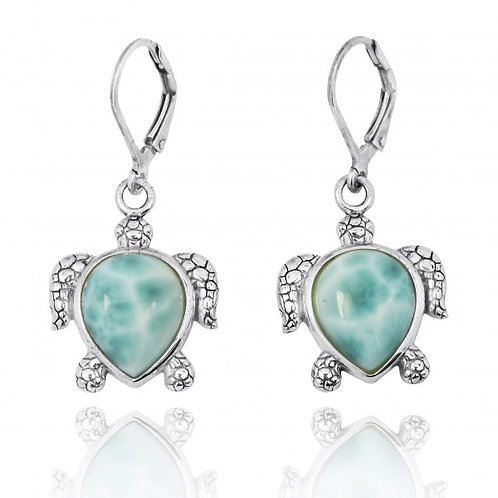 NEA2793-LAR] Sterling Silver Turtle Lever Back Earrings with Larimar