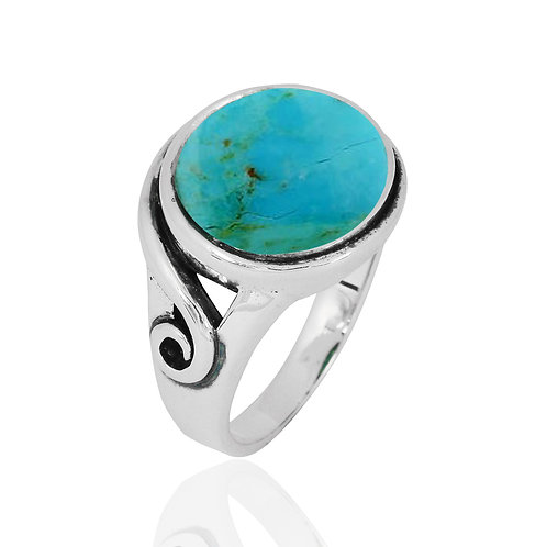 NRB8802-GRTQ -  Round Shape Turquoise Elegant Contemporary Ring