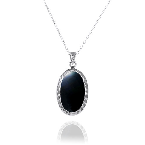 NP8139-BKON - Elegant Oval Silver Pendant with Black Onyx