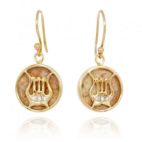 [NEA3849-JRSL-DIA-14K] 14K Gold David's Harp Earrings with Jerusalem Stone and 3